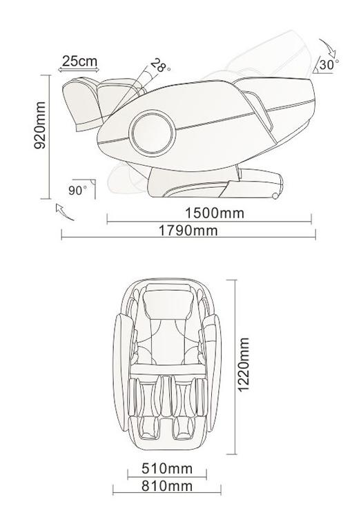 Osaki TP 9000 masszázsfotel méretek